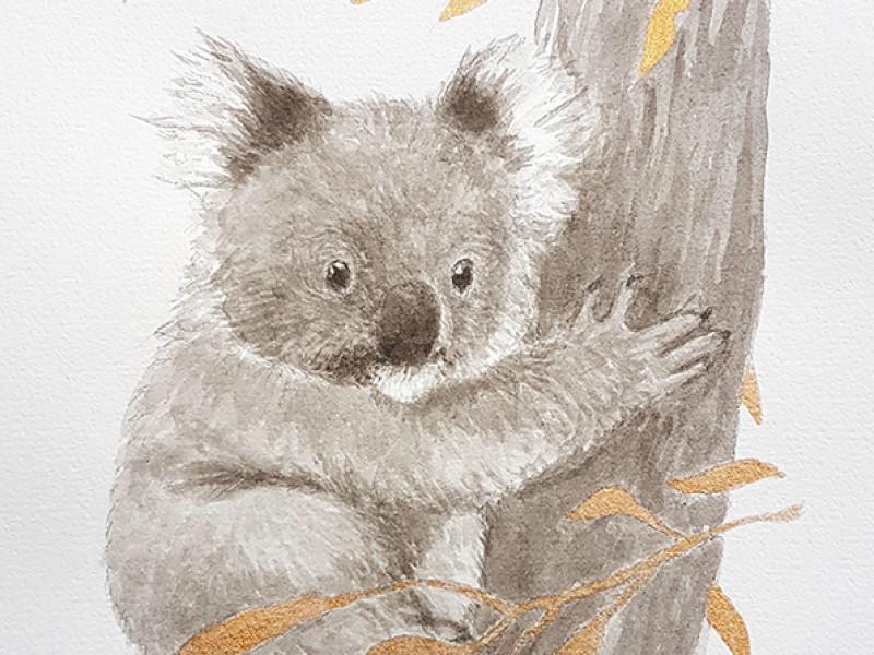 Koala ink painting commission