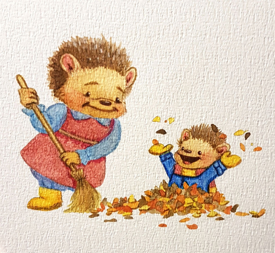 Playing in leaves illustration
