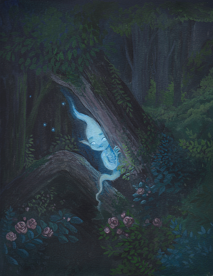 Will-o'-the-Wisp gouache painting
