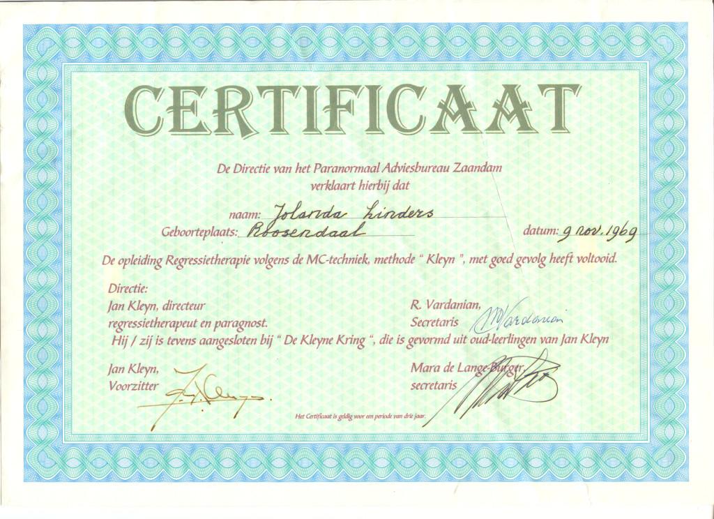 certificaat Jan Kleyn