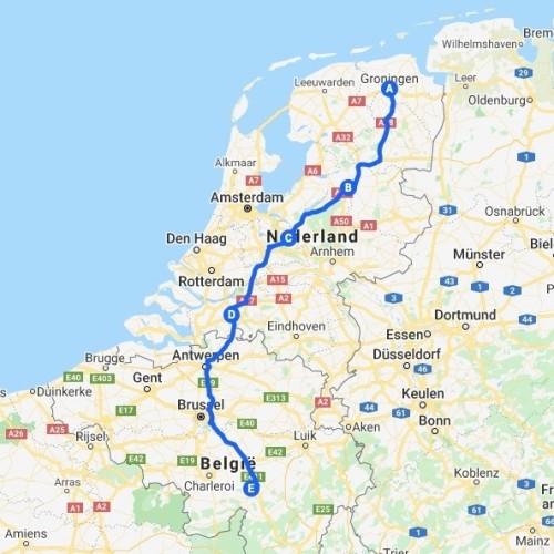 Google Maps Route van Groningen naar de Ardennen via Zwolle, Amersfoort en Prinsenbeek