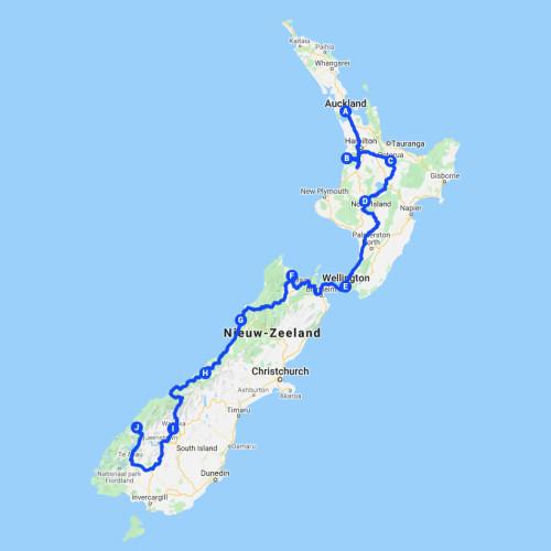 Nieuw-Zeeland Roadtrip Route van Noord naar Zuid