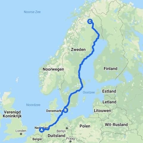 Route van Nederland naar Kiruna in Zweeds Lapland