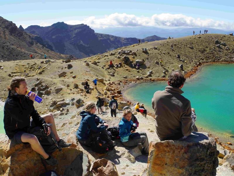 Pauze groep tijdens Tongariro Crossing