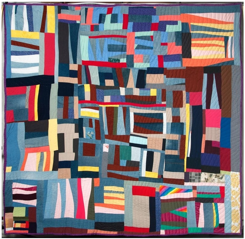 """Mary Lee Bendolph, """"Grandpa Stripes,"""" Mixed fabrics, including cotton, denim, polyester satin, and synthetic brocade, 92 x 94 inches, 2010. Image: Courtesy of Rubin Bendolph Jr. in honor of Mary Lee Bendolph."""