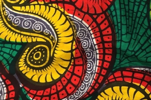 Yellow, red and green kitenge sewing fabric