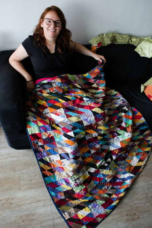 Rianne Kick Ass Quilts with her first colourful scrap quilt