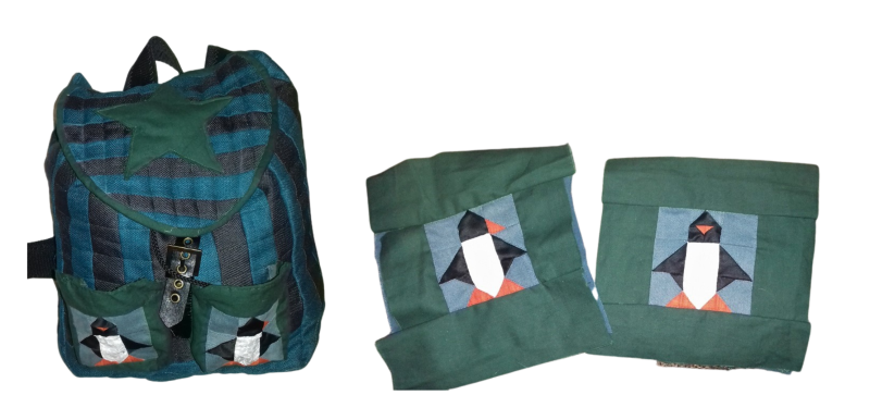 Quilted penguin backpack made with upcycled curtains