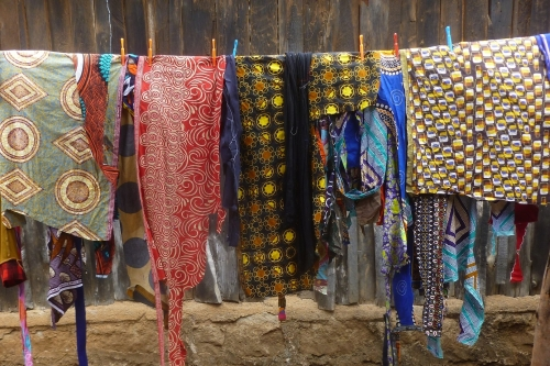 Upcycle kitenge farbic scraps from the tailor drying in the sun