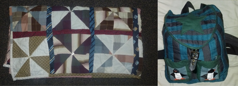 Tie and shirt quilt and quilted penguin backpack