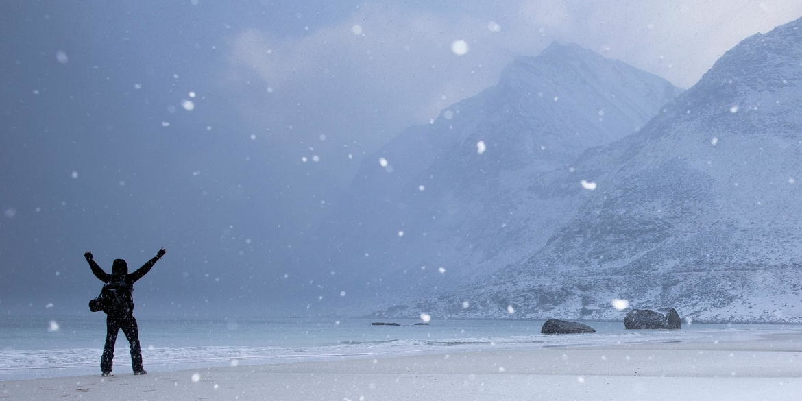 Snowy norway mountains