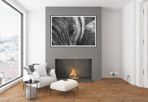 Elephant Artwork above the fireplace