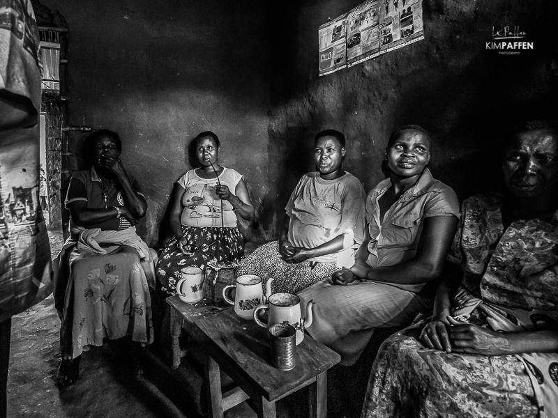 Women drinking in rural Uganda near Sipi Falls