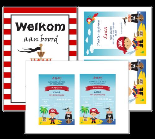 piraten uitnodigingen diploma's - print je feestje