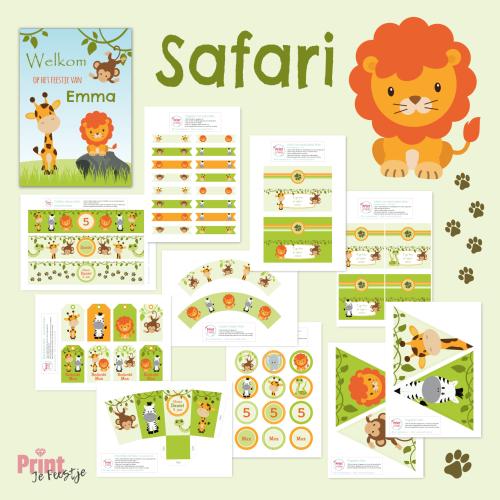 themafeestje safari feestpakket
