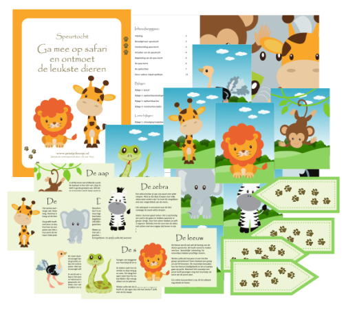 speurtocht kinderfeestje safari - print je feestje