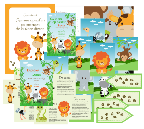 speurtocht safari uitnodiging - print je feestje