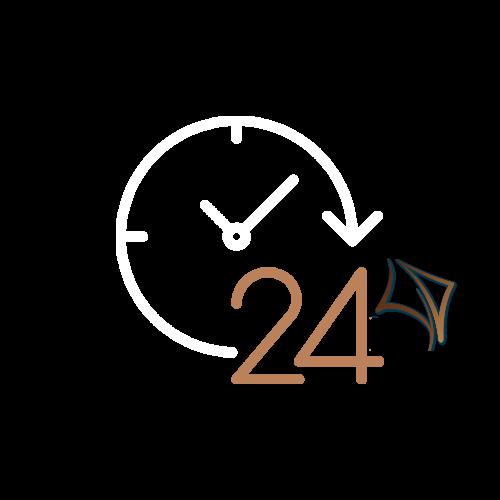 Klok met 24 en kitewebsites icon