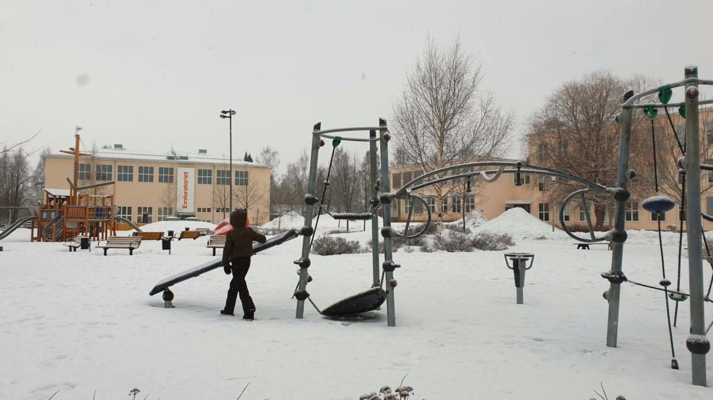 Spelen in de sneeuw in Zweeds Lapland