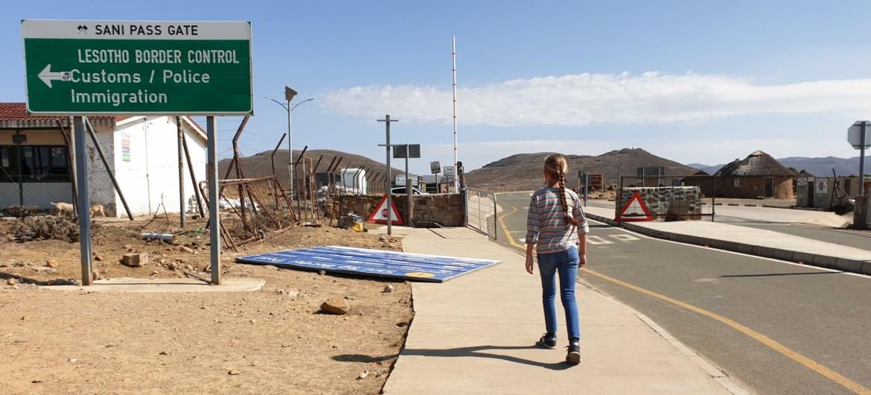 Grenspost bij Lesotho