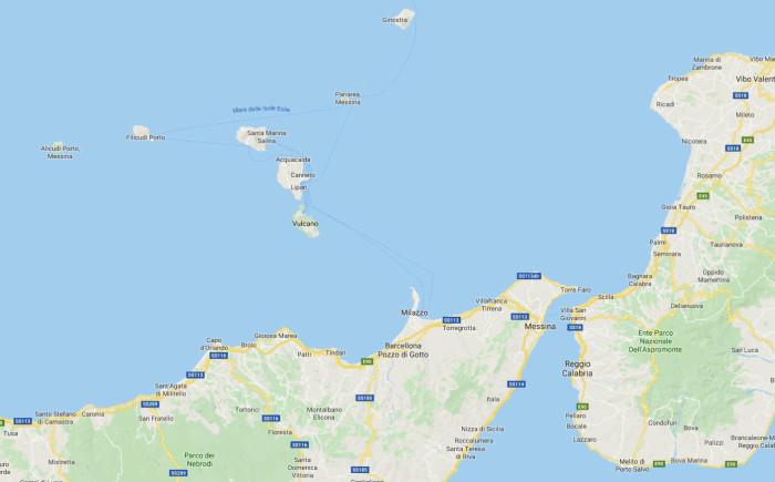 Kaart Eolische eilanden Italie