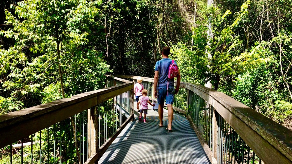 Rainforest boardwalk met kinderen