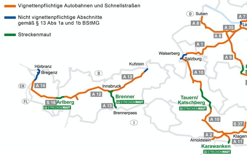 De nieuwe situatie voor het vignet en tol in Oostenrijk