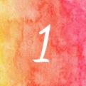 het cijfer 1 op een oranje rode achtergrond