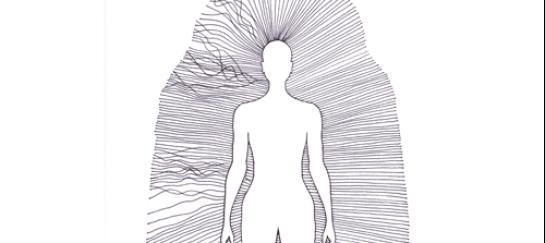 Illustratie van vrouw met aurastralen, links stralen in de war en rechts krachtige stralen.