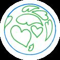 Illustratie wereldbol met hartjes als land