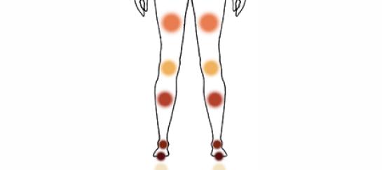 Silhouet met de zeven been chakra's als kleurbol aangegeven op de plek op het lichaam
