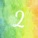 het cijfer twee op een achtergrond van geel groen