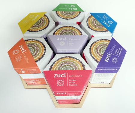 Hele set Zuci Infusions, honingraat doosjes mooi in een cirkel neergezet op een dienblad