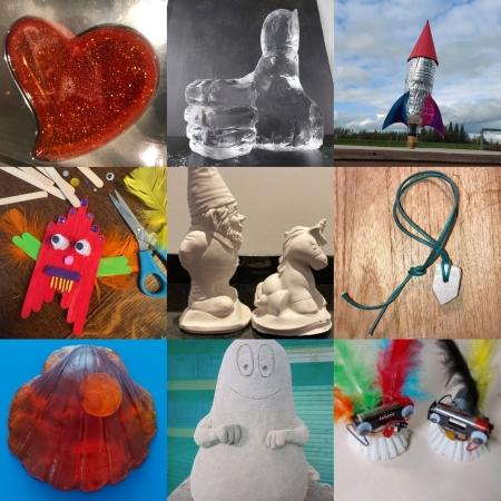 Zeepjes maken, speksteen snijden, ijssculpturen, waterraket, bibberbotjes en meer