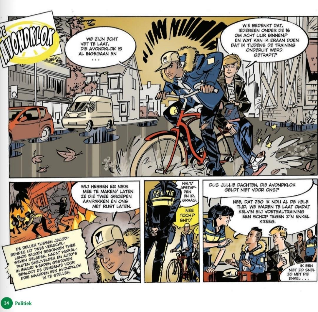 Eerste bladzijde voorbeeld strip avondklok.