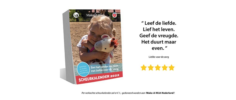 Opbrengst scheurkalender 2022 voor de zorg naar Make A Wish Nederland