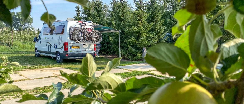 Camperplaats de Woerdt: tussen de boomgaarden slapen