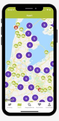 Camperplaatsen App Google Maps kaart