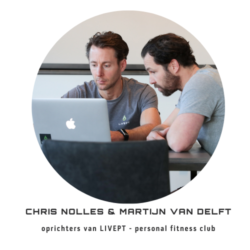 LIVEPT academy oprichters Chris Nolles & Martijn van Delft brainstormen over de volgende stappen die worden gezet