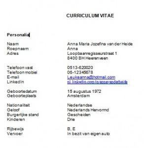 Curriculum Vitae Personalia te lang