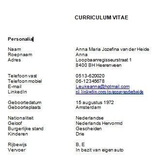 Personalia op je Curriculum Vitae? Uitgebreid of kort en krachtig?