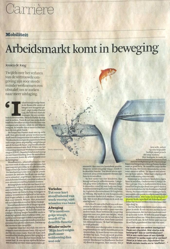 LoopbaanRegisseur Financieel Dagblad Za.03.05.2014 -Arbeidsmarkt komt in beweging