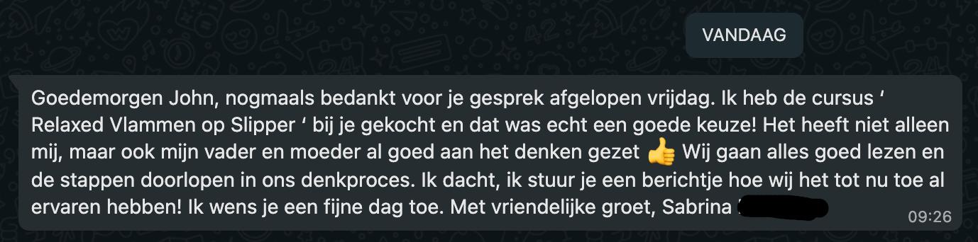 Review Relaxed Vlammen op Slippers Sabrina Drenthen
