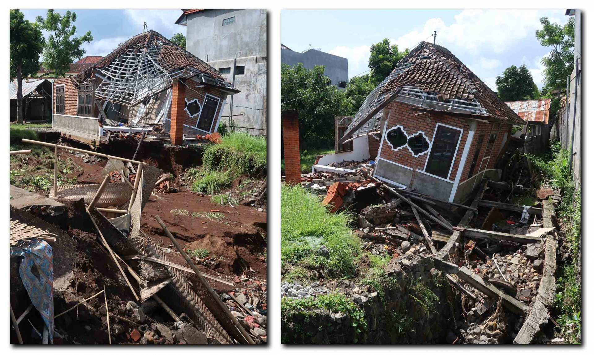 Huizen die op instorten staan