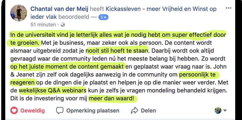 Positieve reactie Chantal_lsob.nl Universiteit