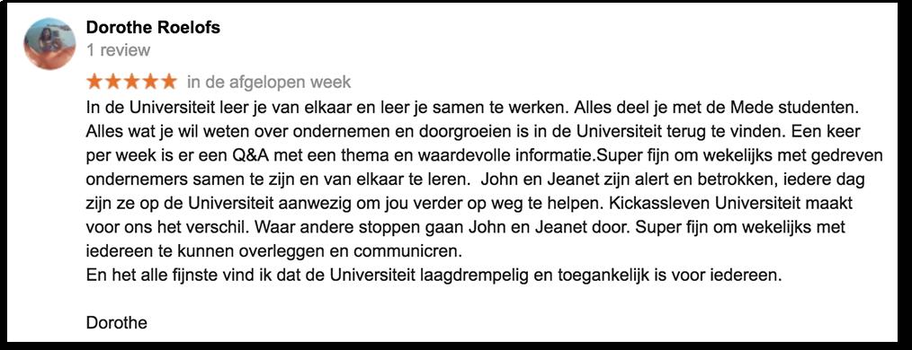 Positieve reactie Dorothe_lsob.nl Universiteit