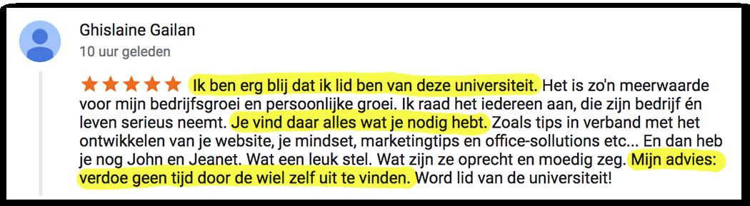 Positieve reactie Ghislaine_lsob.nl Universiteit