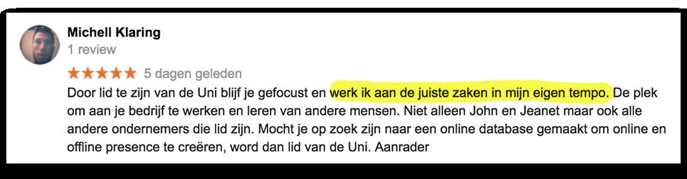 Positieve reactie Michell_lsob.nl Universiteit
