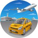 Luchthavenvervoer met de taxi naar de luchthaven