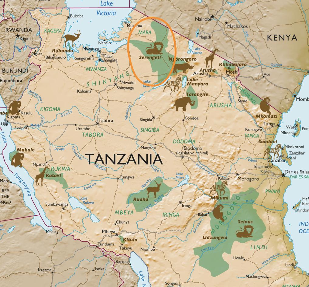 Kaart Serengeti National Park